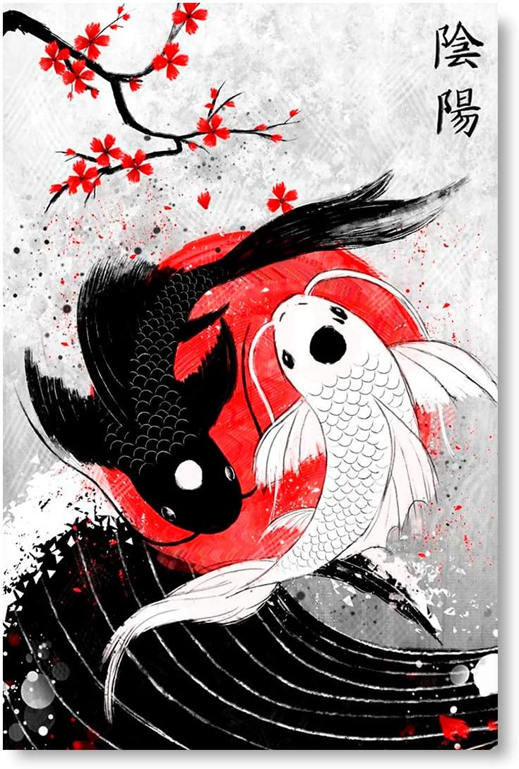 """Funny Ugly Christmas Sweater Koi Fish Poster Wall Art Yin Yang Home Decor Prints 15"""" x 22"""""""