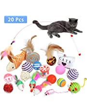 BUYGOO 20 Pack Cat Interactive Toy Set Funny Cat Toys Kitten Toys for Indoor Cat - Cat Mouse toys, Kitten Ball Toy, Cat Fish Toy, Kitten Feather Teaser Wand Toy, Cat Bell Toys, Cat Catnip Toy