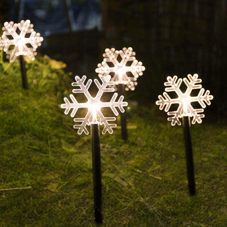Bosji 5pcs Solar Powered Christmas Stake Lights, Snowflake Solar Garden Lights Outdoor, Energy Saving Waterproof Solar Night Light Christmas Decoration for Patio, Walkway, Yard, Lawn (Snowflake)