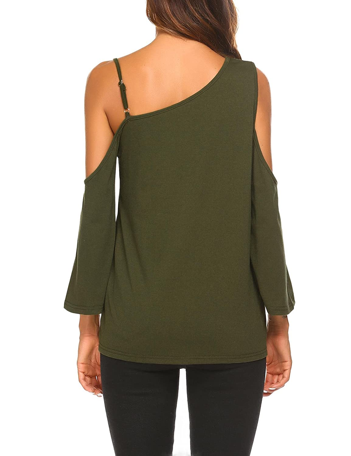 UNibelle Womens Off Shoulder Top Ruffle Sleeve Spaghetti Strap Blouse Tops Shirts