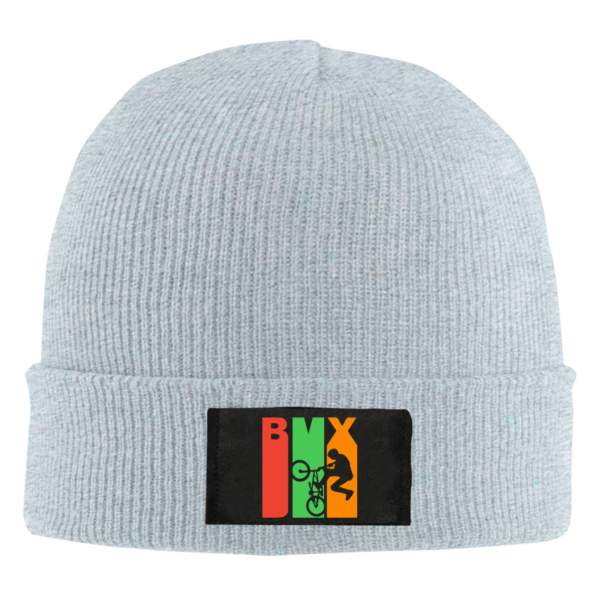 Retro 1970s Style BMX Silhouette Women and Men Knitted Hat Winter Warm Snowboarding Hat