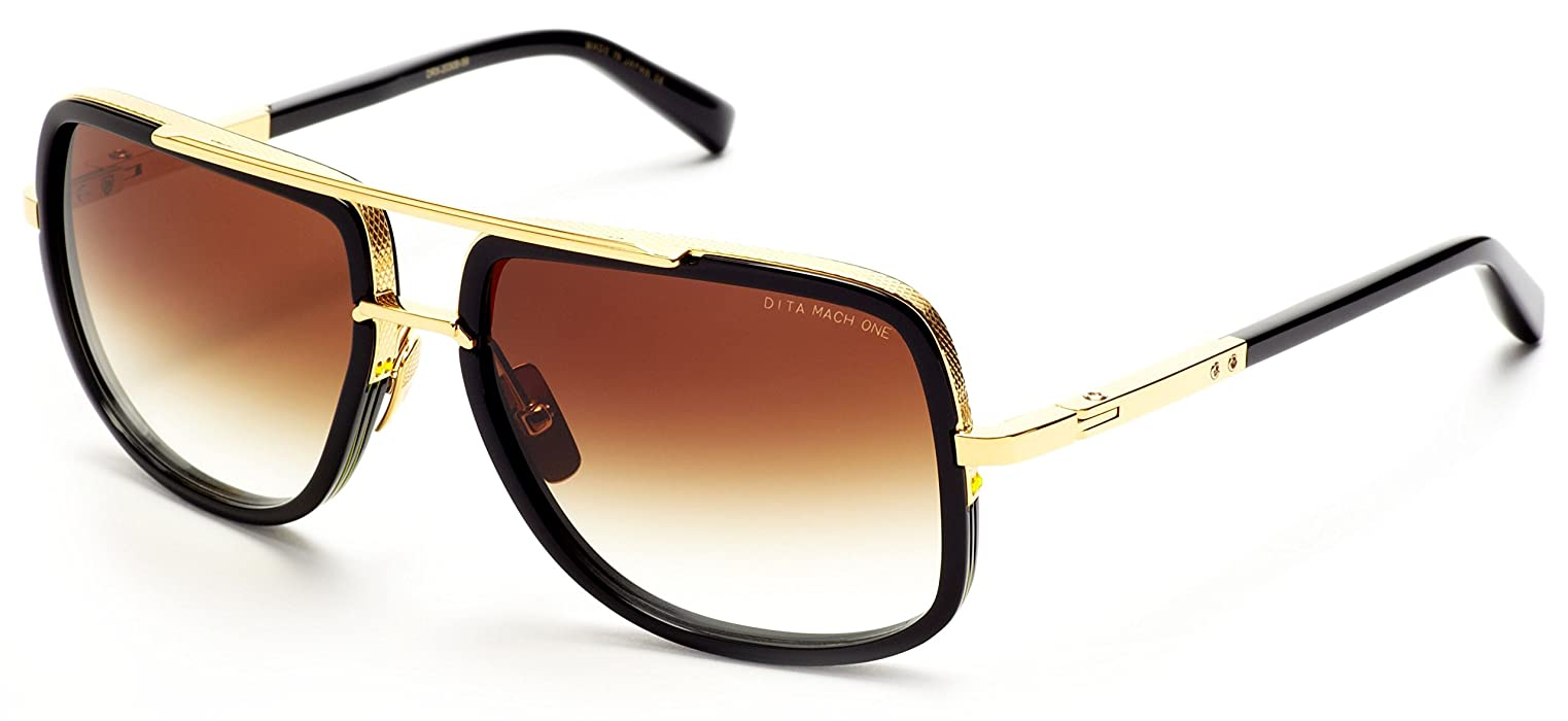 7199014b929 Dita Mach-One Sungalasses 18K Gold and Black with Dark Brown ...