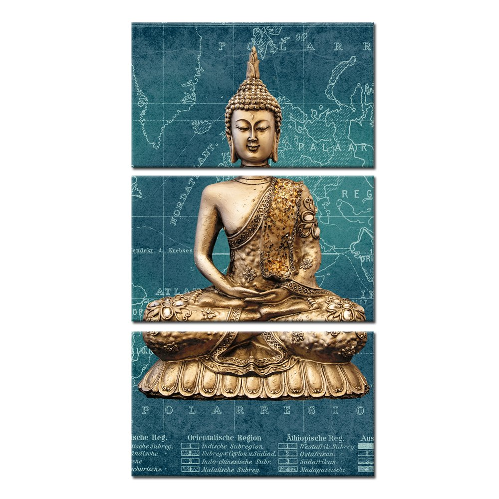 Kreative Arts - 3 Panels Canvas Prints Zen Art Wall Decor Modern Buddha Painting for Home and Office Decor Photos to Prints Paintings on Canvas 12x20inchx3pcs … (Buddha with Map)