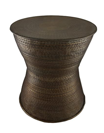 Superieur Zeckos Aluminum Accent Tables Antique Brass Hammered Finish Indoor/Outdoor  Aluminum Accent Stool/Drum