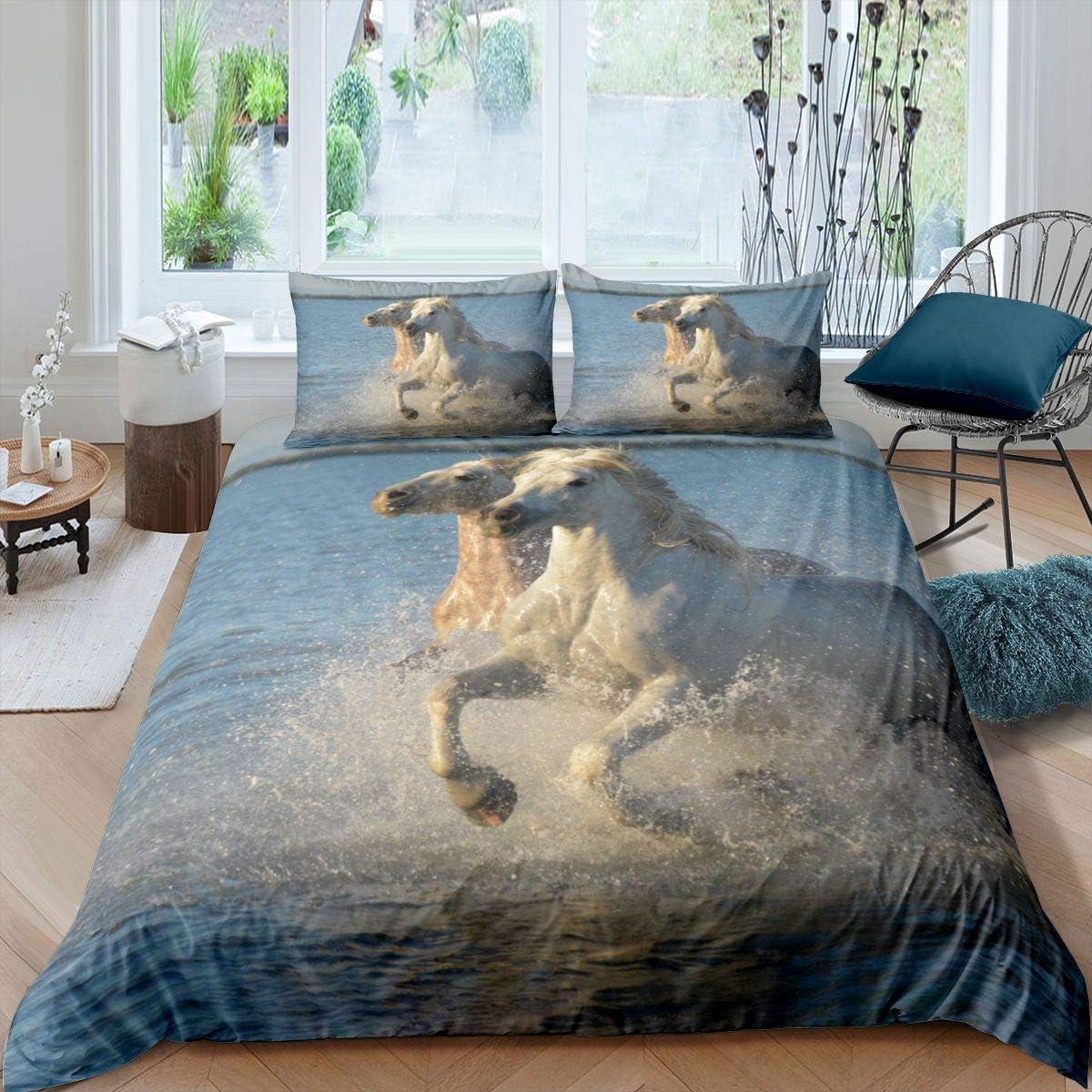 Juego de funda de edredón de caballo galopante para niños y niñas saltando animales salvajes funda de edredón Ocean Wildlife ropa de cama y lino 3 piezas Super King, cremallera