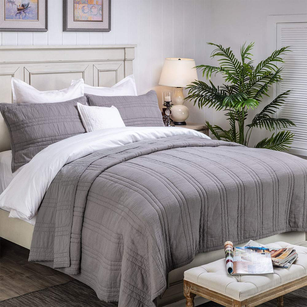 Elegant Life Zen Collection 2 Layers Cotton Crinkle Gauze Stripe Embroidery Bedding Quilt Oversized King 106'' x 92'', Gray