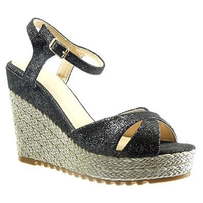 Angkorly Damen Schuhe Sandalen Espadrilles - Plateauschuhe - Seil Keilabsatz High Heel 11.5 cm - Beige BL206 T 39 bzh5v