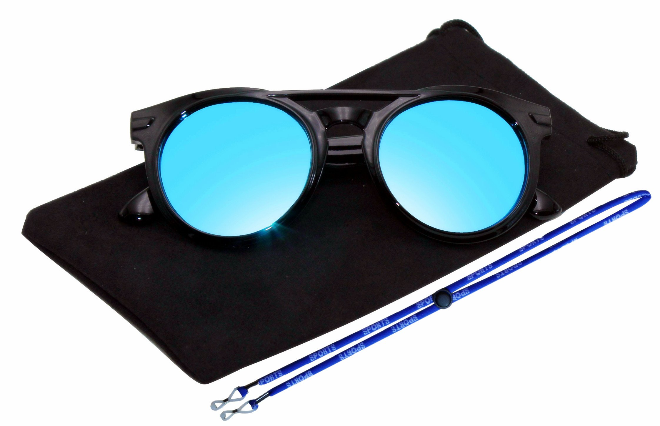 Coolsome Rubber Flexible Kids Polarized Sunglasses For Boys Girls Children With Strap Age 3-10 Years Old (Cat eye Black B)