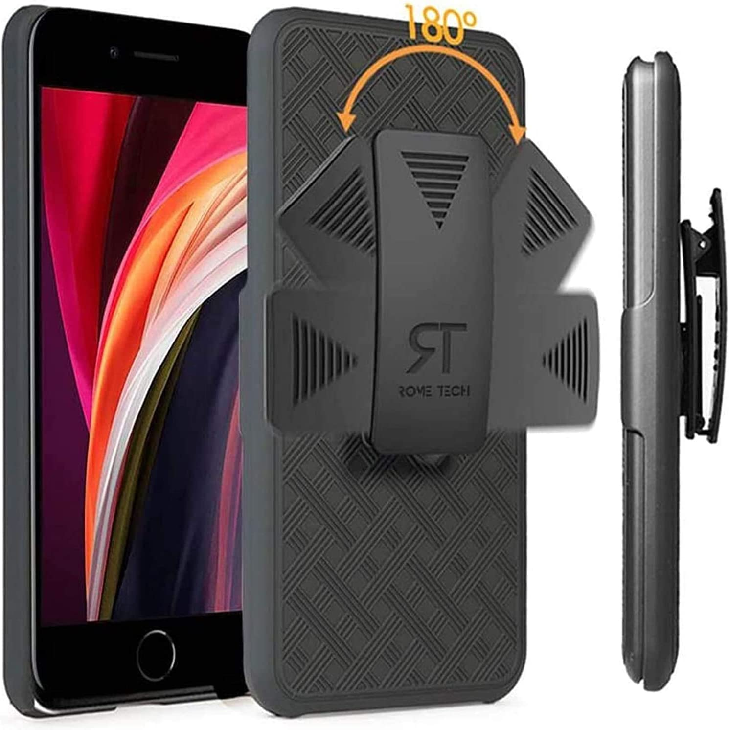 Rome Tech Holster Case with Belt Clip for 2020 Apple iPhone SE 2 / iPhone 7/8 - Slim Heavy Duty Shell Holster Combo - Rugged Phone Cover with Kickstand Compatible with Apple iPhone SE2 - Black