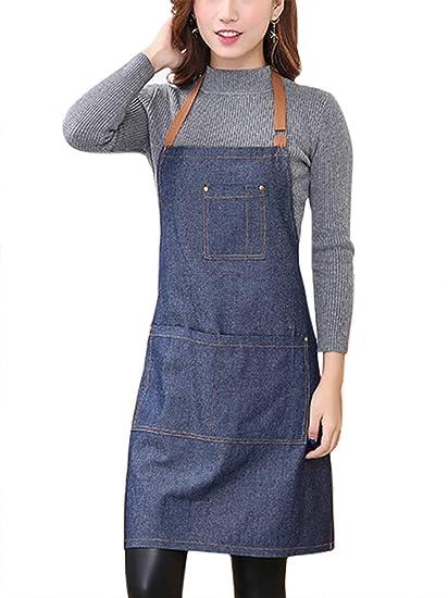 479282caa7d Aivtalk - Delantal Cocina Demin Delantal de Trabajo con Bolsillos para  Cocinero Camarero Servidor - Azul