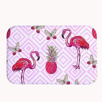 Truiuiui Sweet Pink Ananas Und Flamingos Coral Fleece Badteppich