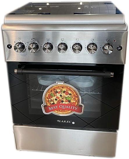 Cocina LAREL 60 x 60 4 fuegos ACC. ELET Horno eléctrico ventilado inoxidable rejillas de hierro fundido