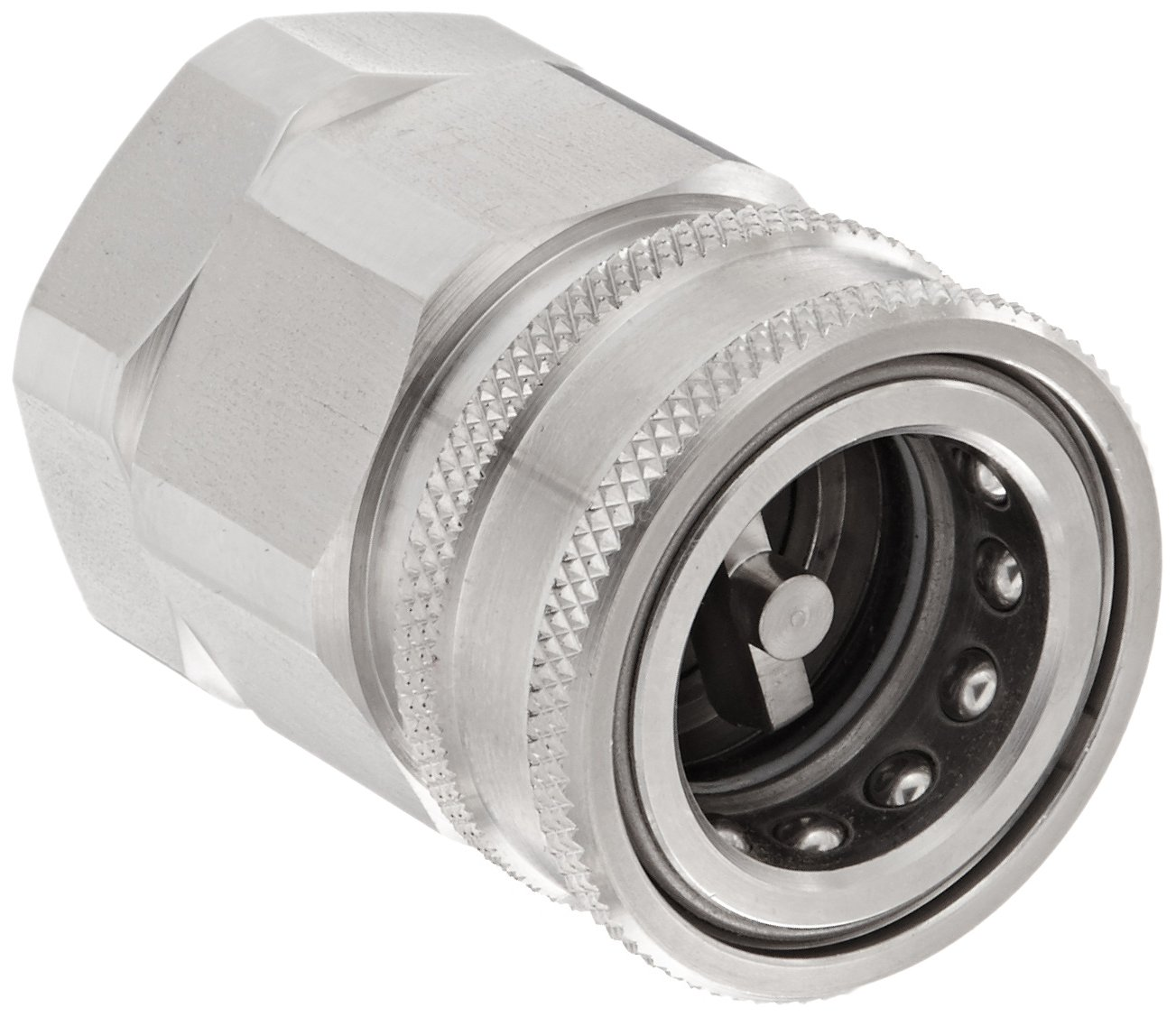 Snap-Tite SVHC16-16F Stainless Steel 316 H-Shape Quick-Disconnect Hose Coupling, Sleeve-Lock Socket, 1'' NPSF Female x 1'' Coupling Size