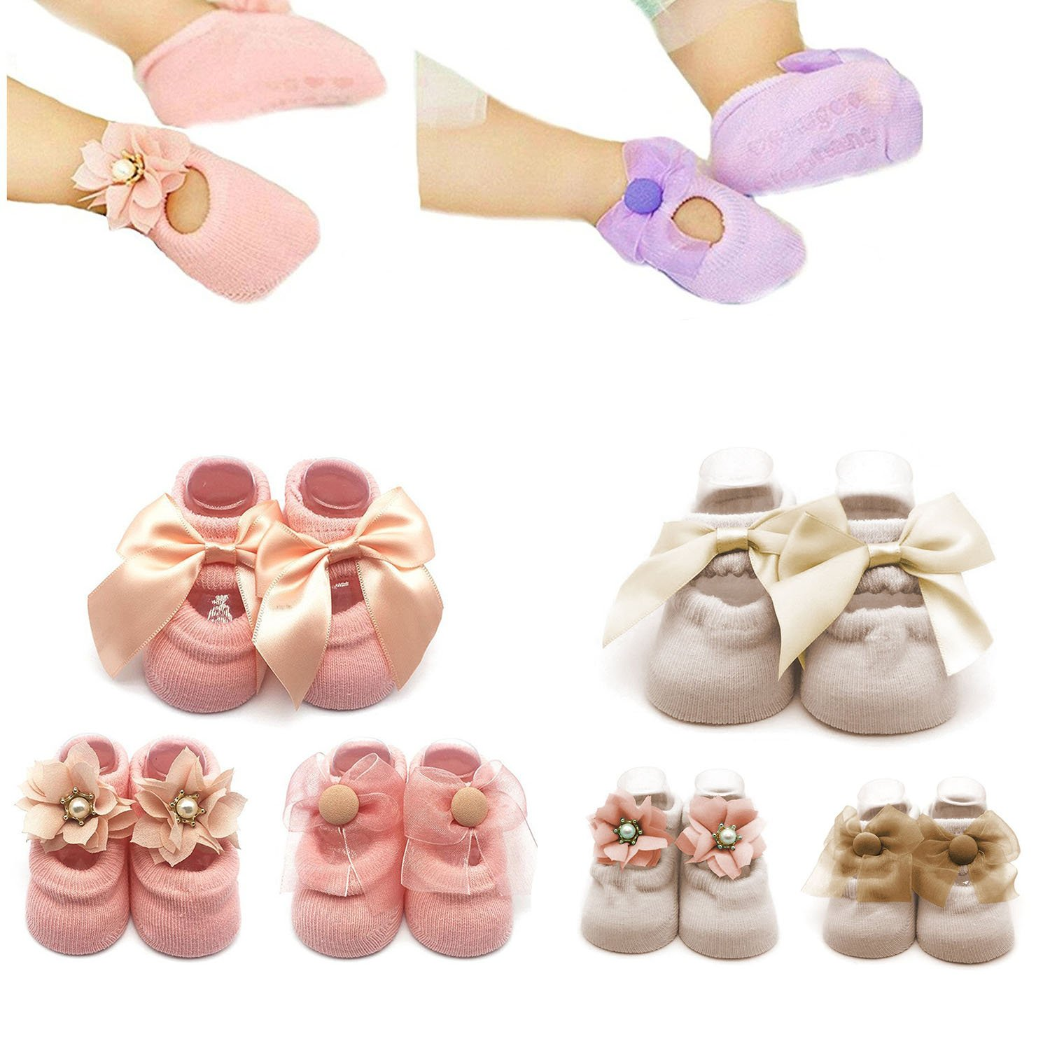 6Pairs Non-skid Baby Girls Lace Jane Socks Toddler Cotton Bowknot Walker Socks