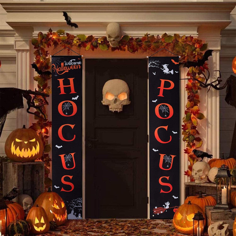 CDLong Halloween Decorations Outdoor - Halloween Porch Sign Banners - Hocus & Pocus Halloween Signs - Halloween Party Hanging Flags Outdoor Home Door Décor