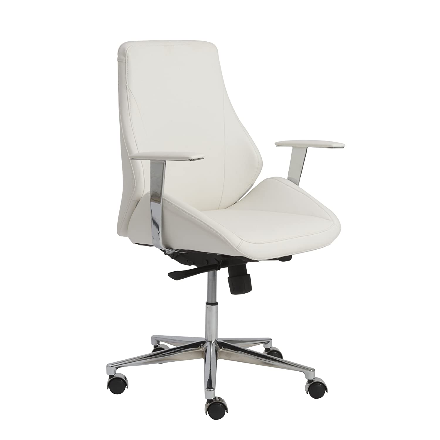 Amazon.com: Euro Style Bergen Contoured Adjustable Office Chair With  Chromed Accent, Low Back, White: Kitchen U0026 Dining