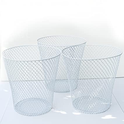 Amazon.com: White Wire Mesh Waste Basket No Lid (3 Pack), Set of 3 ...