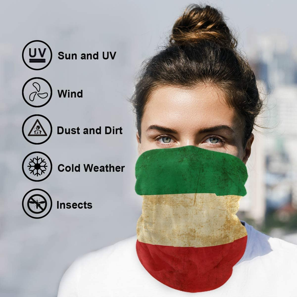onepicebest Seamless Face Cover Scarf Bandanas Personalized Italia Italian Flag Neck Gaiter Dust /& UV Sun-Protection for Festivals and Outdoors
