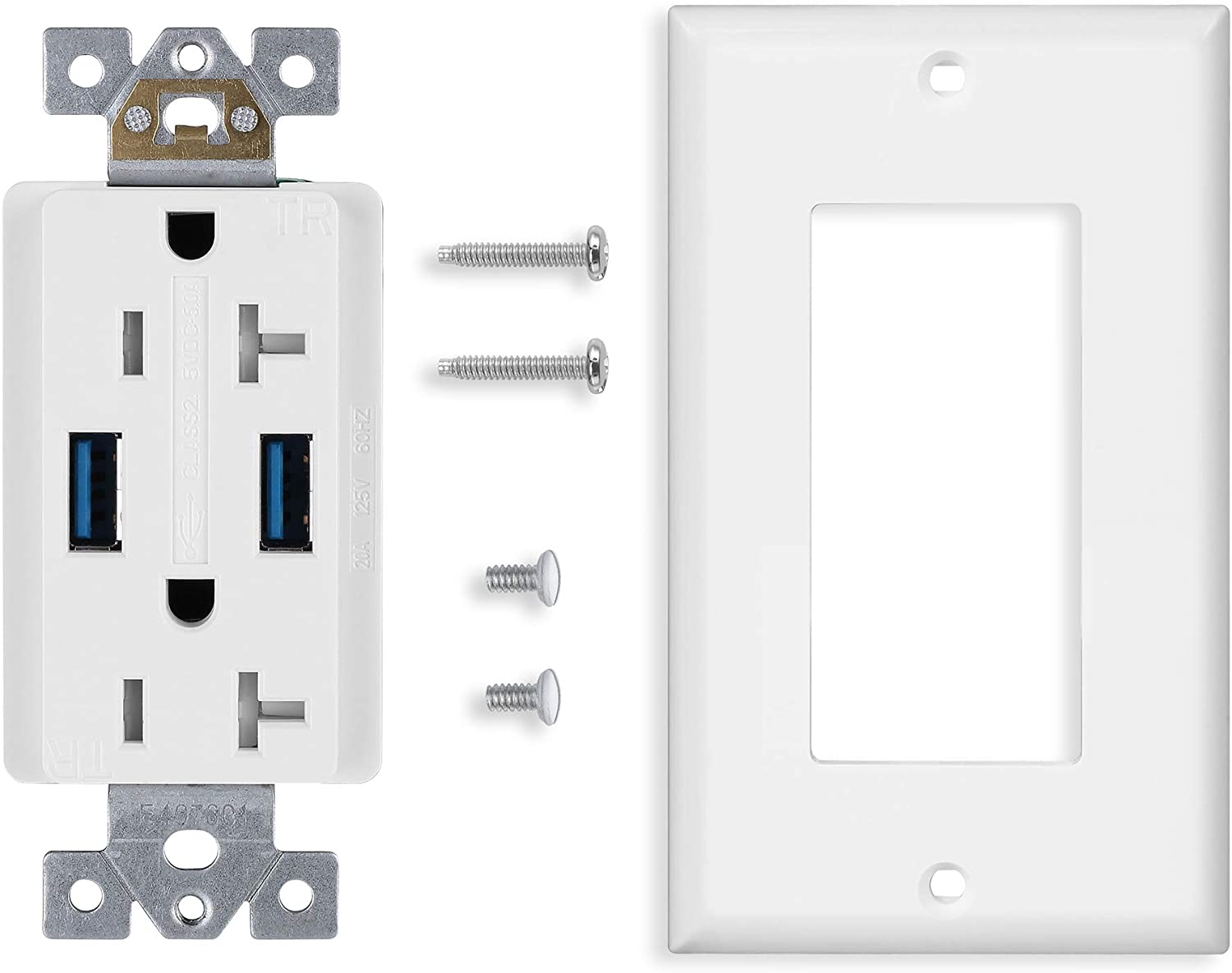 Compatible with Apple iPhone UL Listed LG 5.0A Dual High Speed USB Wall Outlet Charger 4 Pack 15A Tamper-Resistant Receptacle with White Wall Plate HTC Smartphone Samsung Galaxy