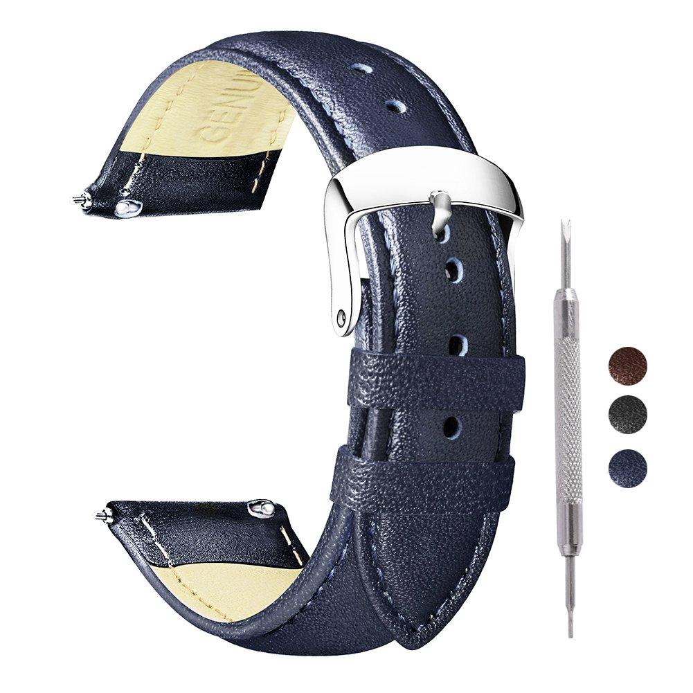 Ritche 18 mm 20 mm 22 mmクイックリリースレザー腕時計バンド本革交換用時計ストラップ B078W5SLS3 20mm ブルー ブルー 20mm