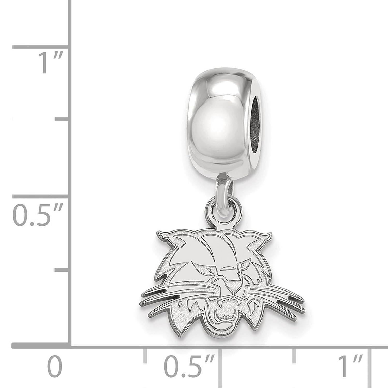 925 Sterling Silver Rhodium-plated Laser-cut Ohio University XS Dangle Bead Charm
