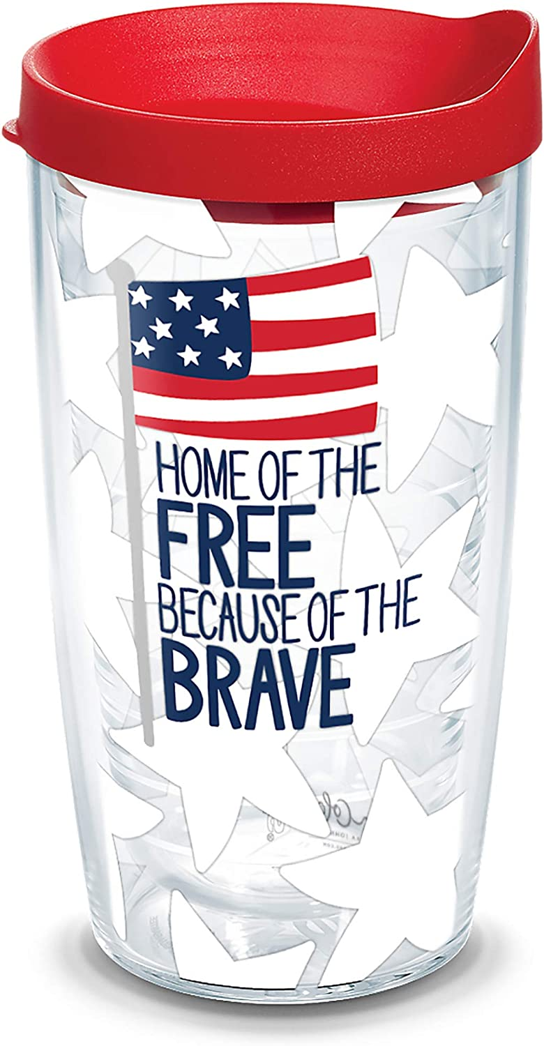 Tervis Coton Colors - Home of the Free Insulated Tumbler with Wrap and Red Lid, 16oz, Clear