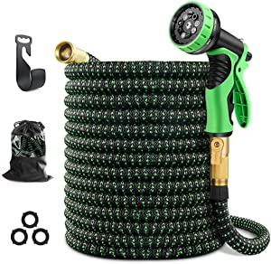 Sunlight Forest 75ft Expandable Garden Hose with 9 Function Nozzle, Leakproof Lightweight Retractable Water Hose with Solid Brass Fittings, Extra Stre