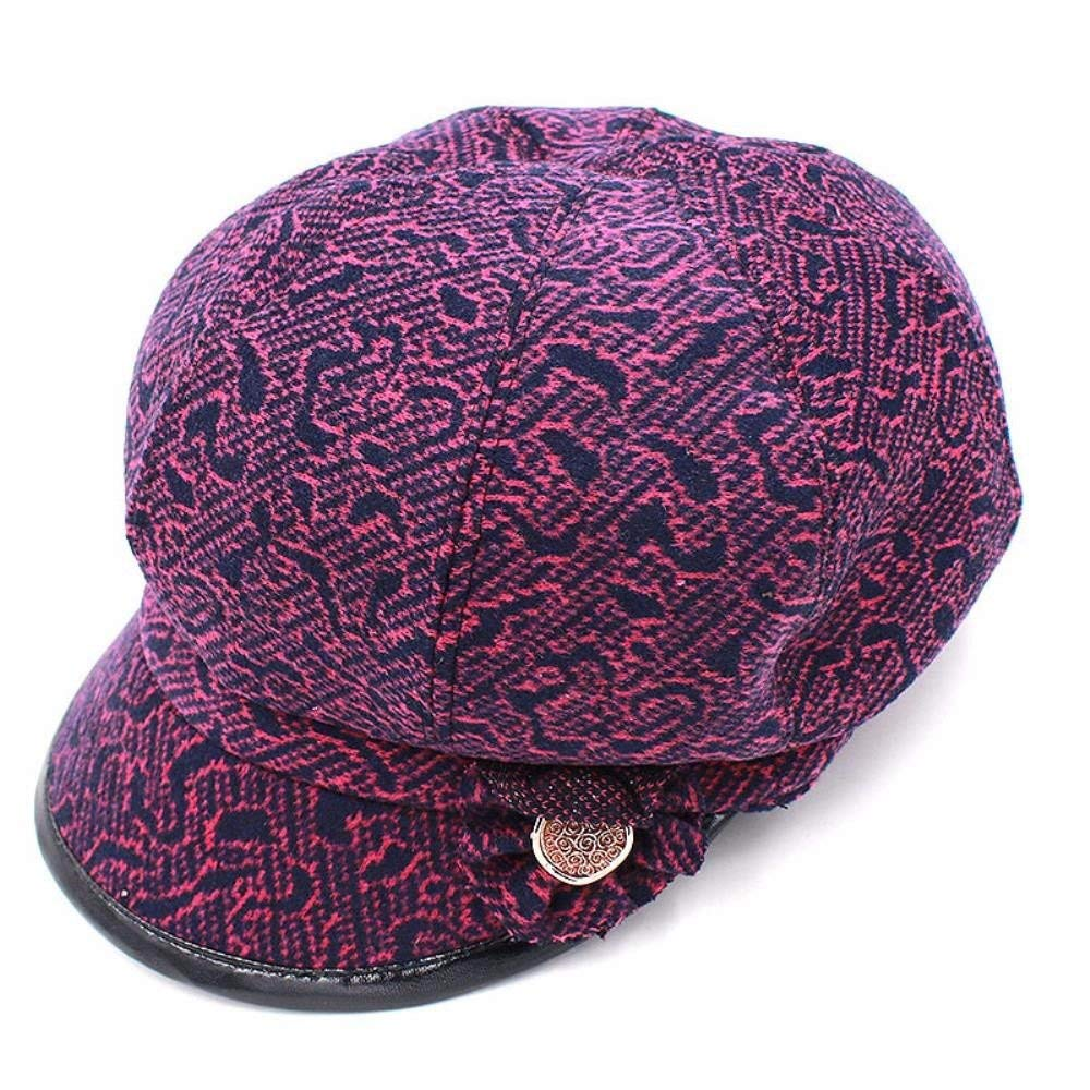 Thundertechs Hat Female Autumn and Winter Outdoor Video face Small Fisherman hat Cap Beret Latticed Octagonal Cap (Color : The Purple, Size : M) by Thundertechs (Image #3)