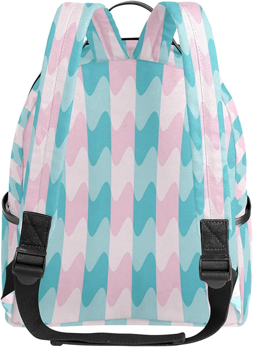 Mr.Weng Pink And Blue Waves Printed Canvas Backpack For Girl and Children