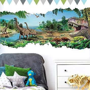 Grandora Wandtattoo aufgerissene Wand Dinosaurier I (BxH) 90 x 46 cm IT Rex  Kinderzimmer Jungs selbstklebend Aufkleber Wandaufkleber Wandsticker ...