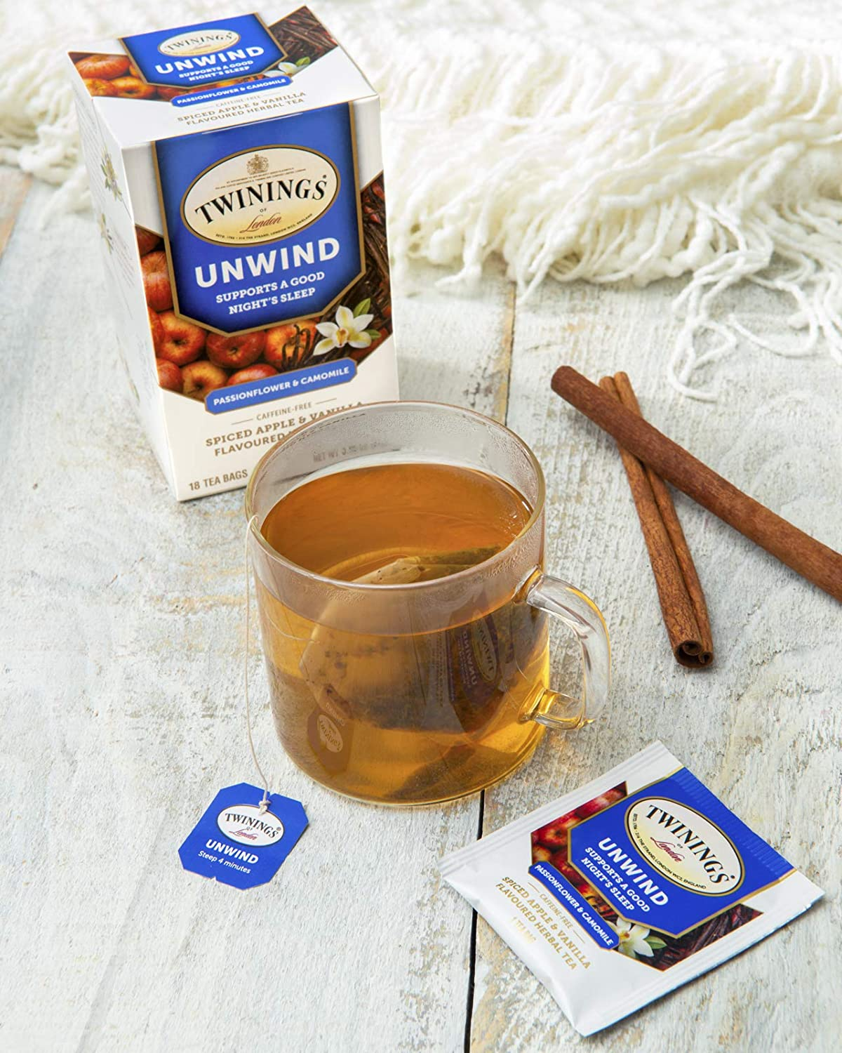 Twinings of London Daily Wellness Tea, Unwind Sleep Supporting Passionflower & Camomile, Spiced Apple & Vanilla, Flavored Herbal Tea
