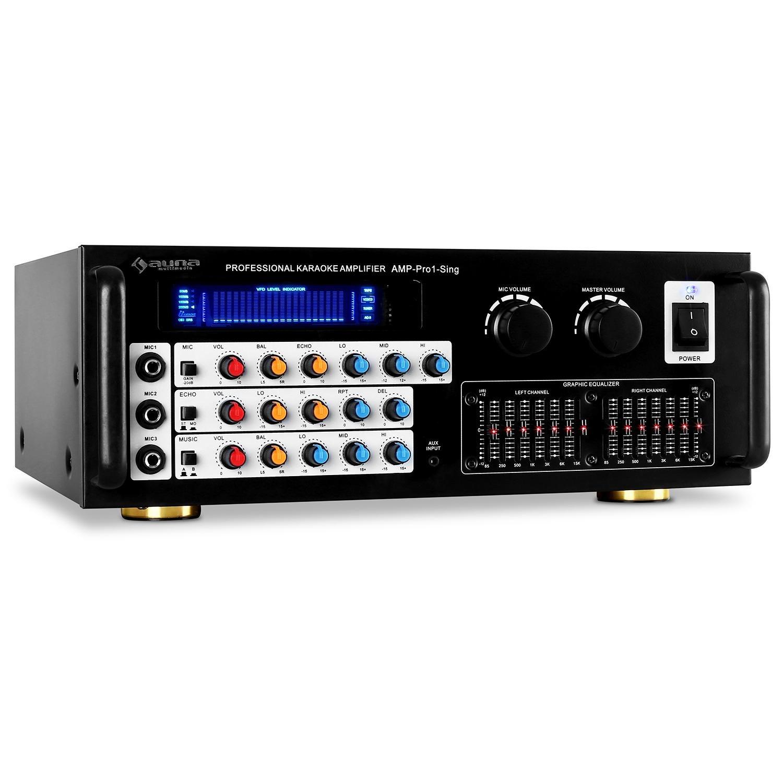Auna Pro1-Sing Ampli Hifi stereo karaoké 3 entrées micro (effets écho, égalisateur à 3 bandes, entrées RCA ou jack, 2x100W RMS, max. 600W)