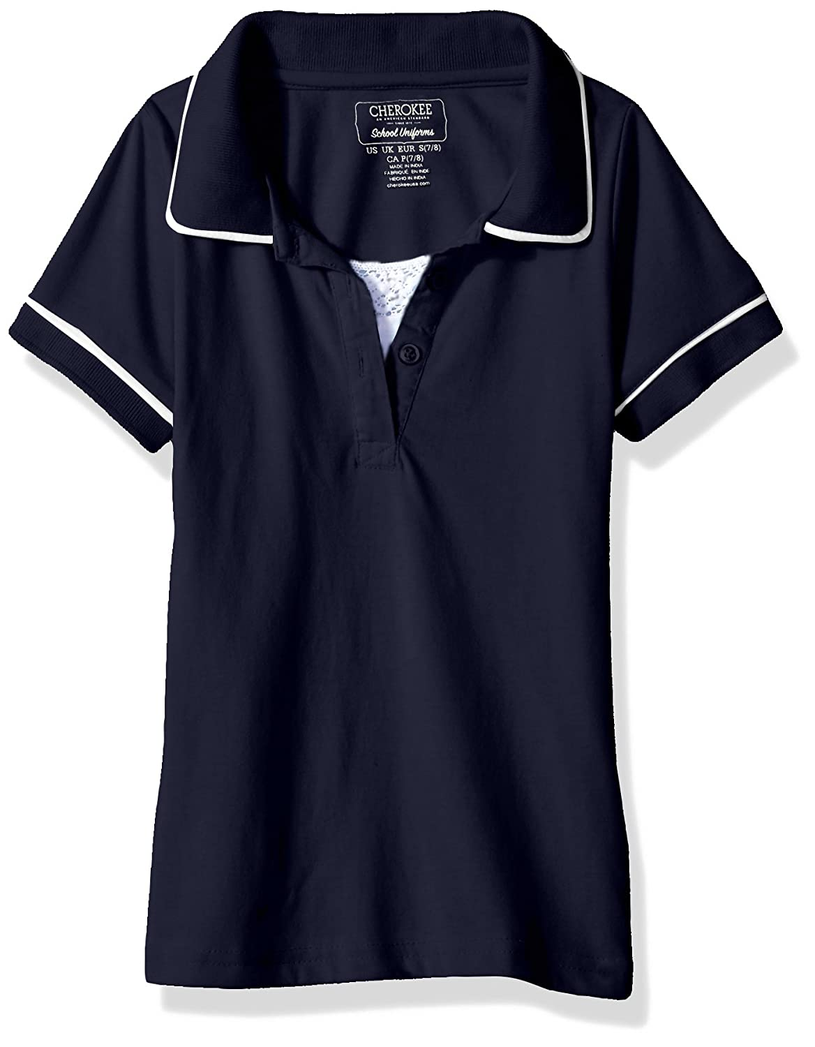 CHEROKEE Girls' Uniform Short Sleeve Polo with Faux Twofer -