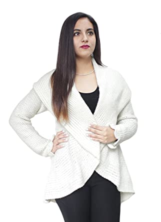 d04737d9f Womens Soft And Warm Alpaca Wool Knitted Cardigan Open Coat Jacket Sweater  Crocheted Cuff Design (