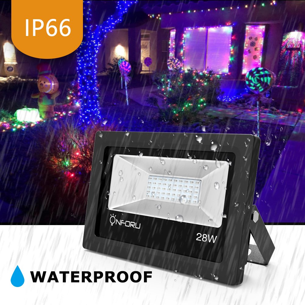 Onforu 2 Pack 28W UV LED Black Light Flood Light with Plug, IP66 Waterproof, for Blacklight Party, Stage Lighting, Aquarium, Body Paint, Fluorescent Poster, Neon Glow, Fishing, Glow in the Dark by Onforu (Image #3)