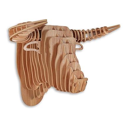 Toro Rompecabezas 3D en madera color haya con sujeto cabeza de toro