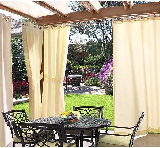 1 pieza 96 pulgadas Natural al aire libre Gazebo cortina, Luz Amarillo Color fuera ventana tratamiento