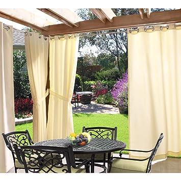 1 pieza 96 pulgadas Natural al aire libre Gazebo cortina, Luz Amarillo Color fuera ventana