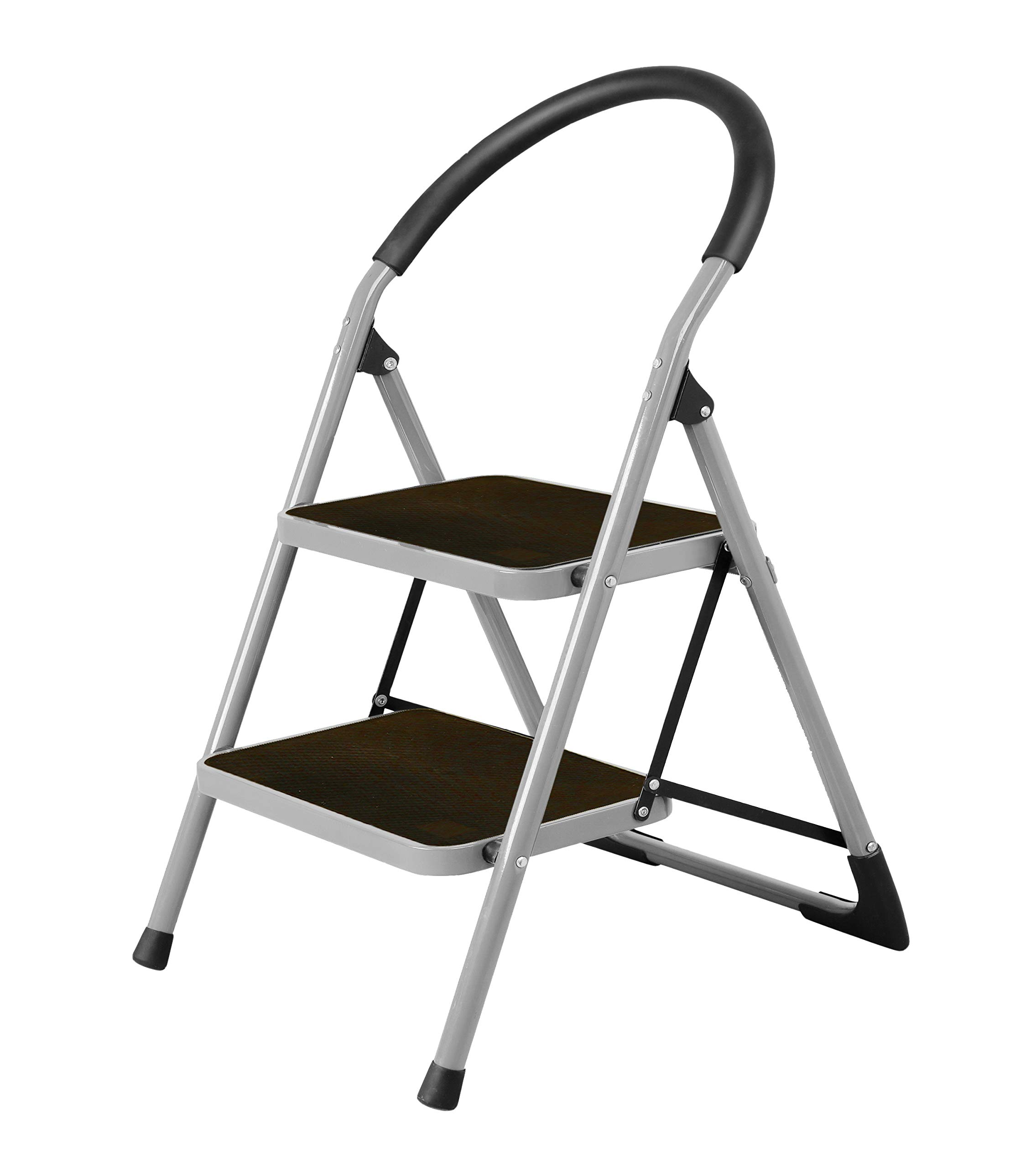 CASTOOL Steel Stepladders with Handgrip Anti-Slip Sturdy and Wide Pedal Steel Ladder 330lbs White and Black Combo 2-Feet 2 Step Ladder Folding Step Stool
