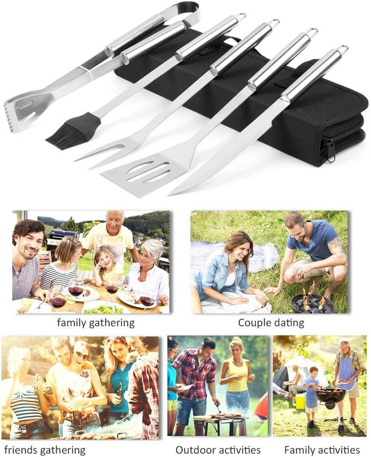 SASKATE Barbecue Set di Utensili per in Acciaio Inossidabile Set di Utensili per Barbecue Portatile