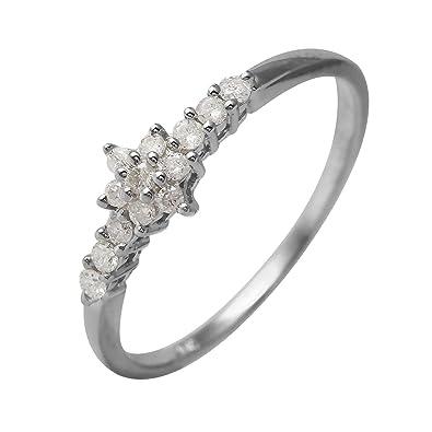 630e1c4b98ba8 0.23 Carat Natural Diamond 10K White Gold Engagement Ring for Women ...
