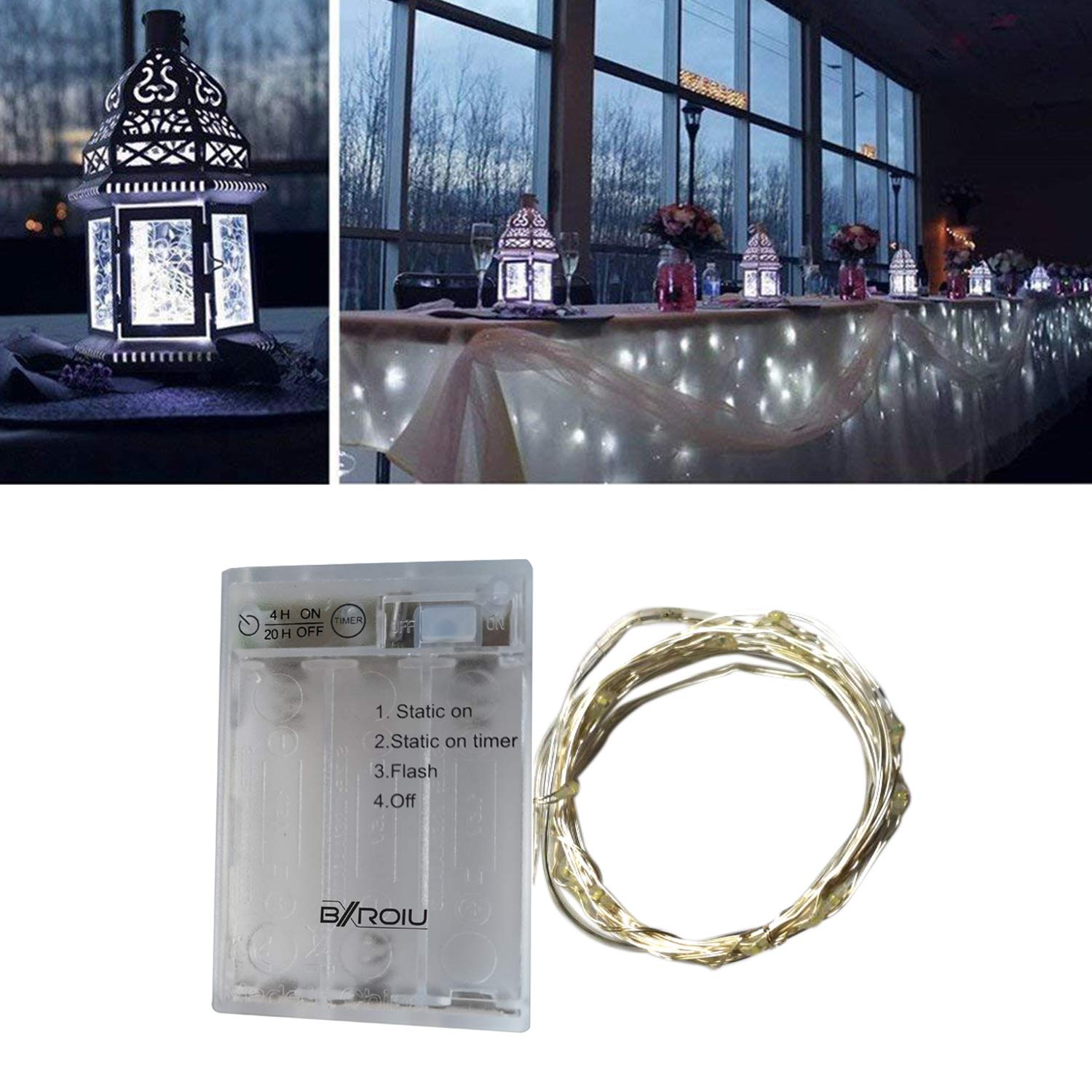 BXROIU 2 x Fairy String Lights Battery Operated, Silver Wire 3 Mode Chains with Timer 6.5ft 20 LEDs Firefly String Lights for Bedroom Christmas Party Wedding Decoration (Cool White)