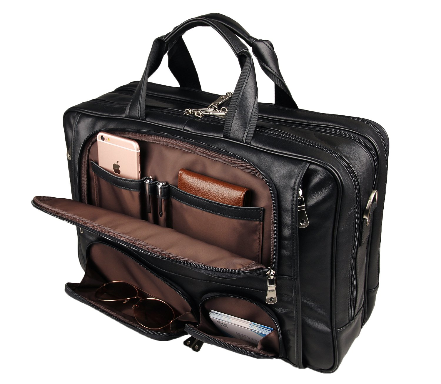 Texbo Men's Genuine Leather Business Trip Briefcase Large Bag Fit 17'' Laptop