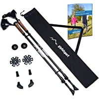Carbon Nordic Walking poles – pair with bag I Walking poles for men and women, adjustable | Telescopic poles with attachments, rubber buffer I + free eBook