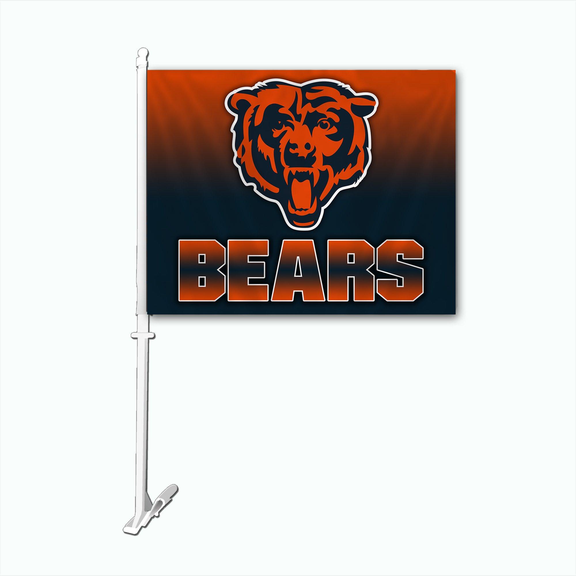 NFL Chicago Bears Car Flag with Wall Bracket, Team Color