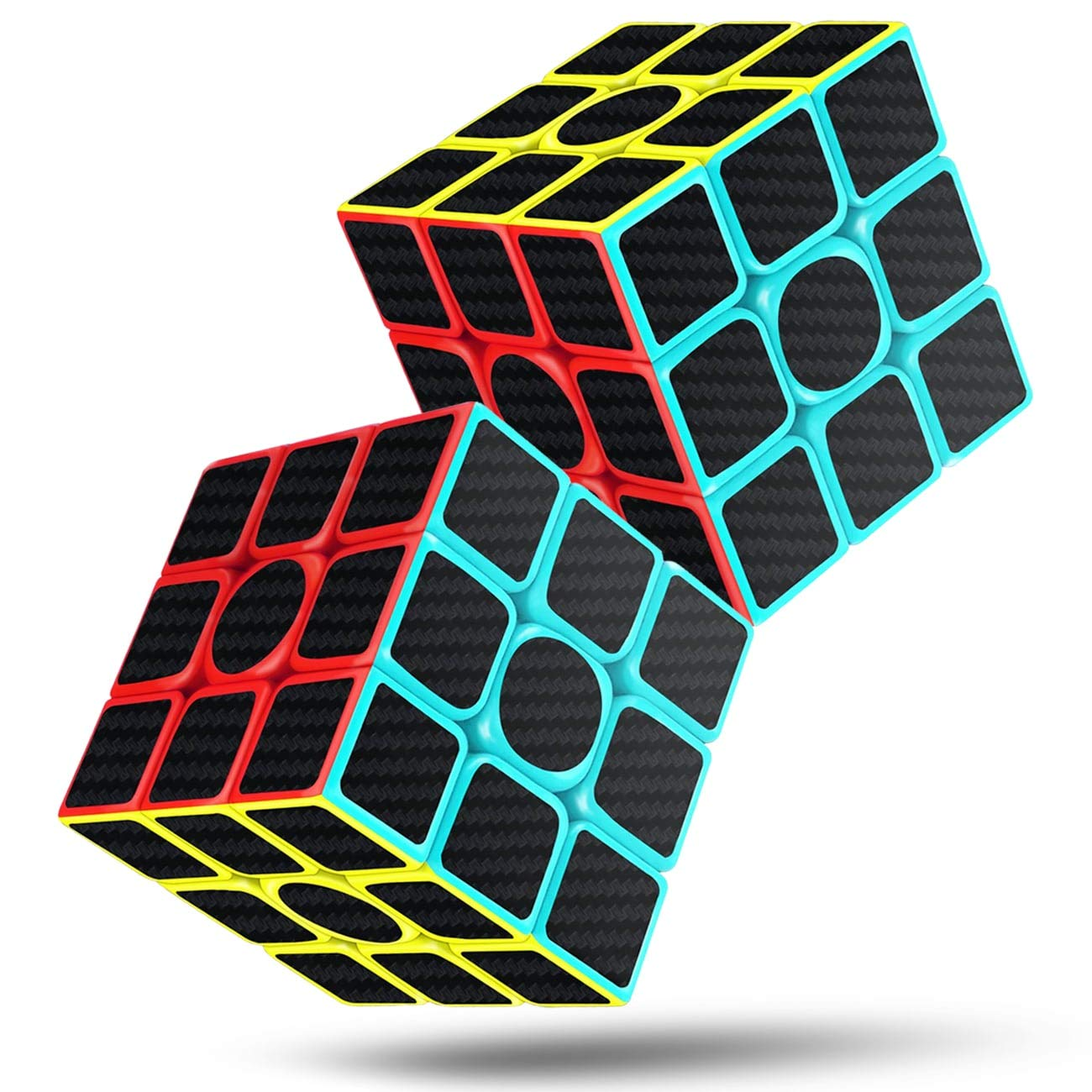 Rubiks Cube Speed Cube 3x3x3 Magic Carbon Fiber Sticker Smooth Rubix Cube, Enhanced Version Black - Pack of 2 by cfmour