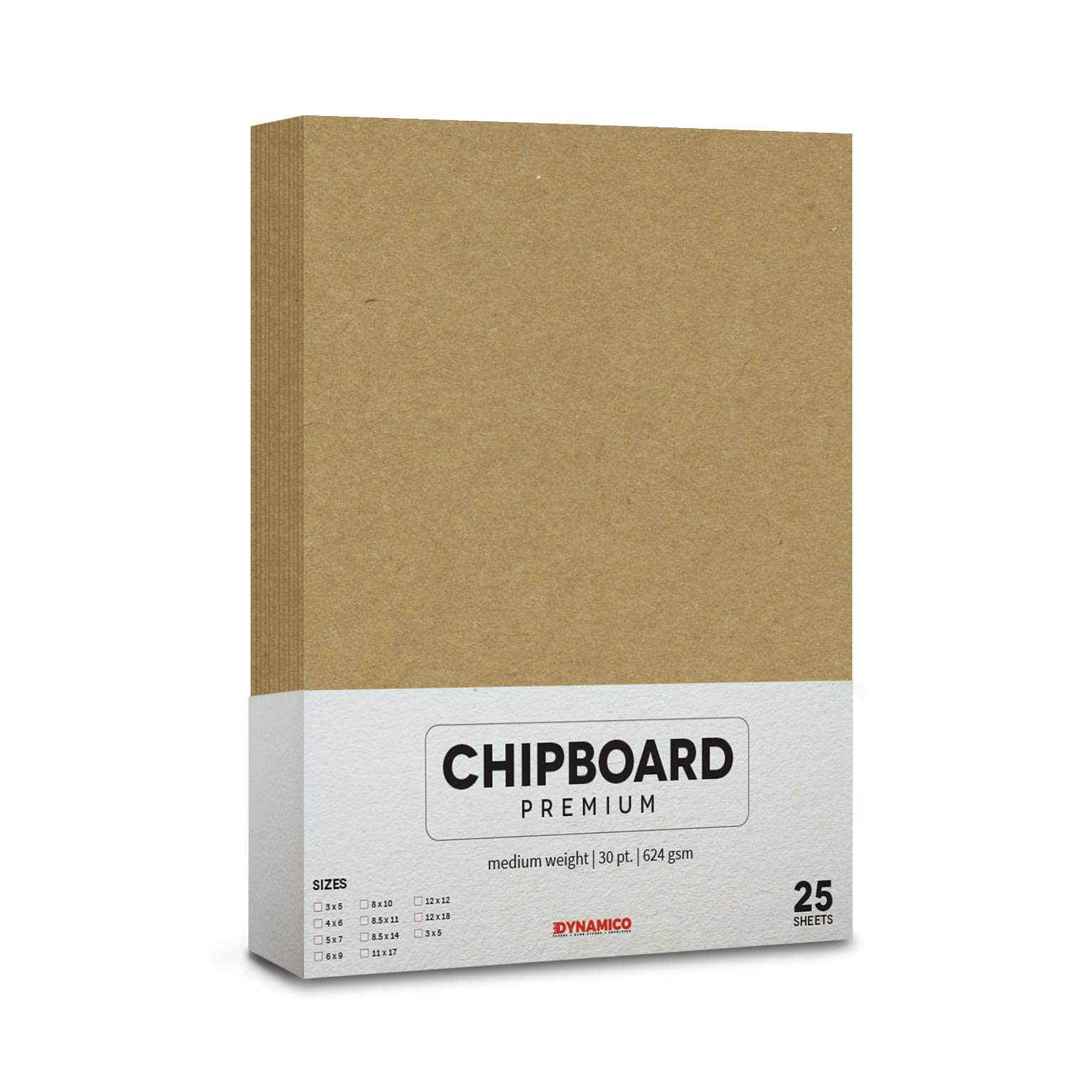 25 Sheets of Chipboard, 30pt (Point) Heavy Weight Cardboard .030 Caliper Thickness, Craft and Packing, Brown Kraft Paper Board (6 x 9)