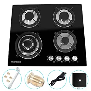 "24"" inches Gas Cooktop Tempered Glass Built in Gas Stove 4 Burners Gas Stoves Cooktop (4 Sealed Burners) Stove Burner Cast Iron Grate Stove-Top LPG/NG Dual Fuel Thermocouple Protection and Easy to Cle"