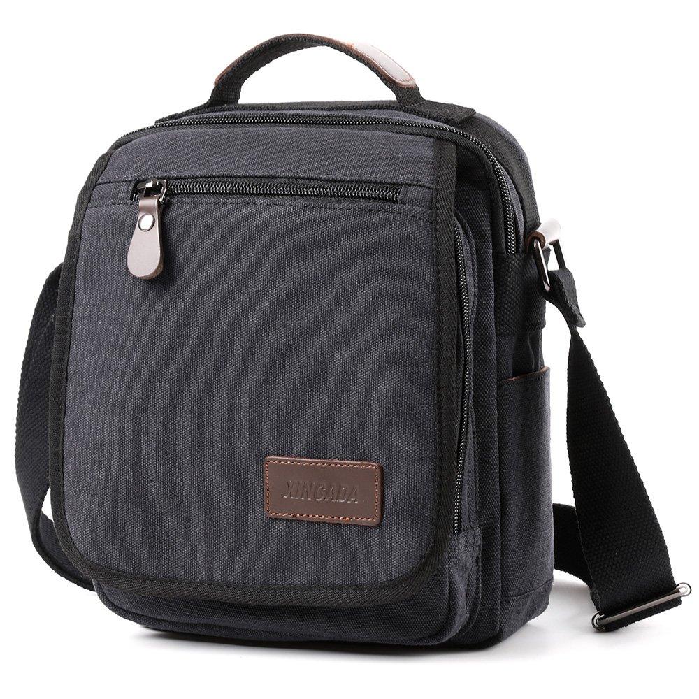 XINCADA Mens Bag Messenger Bag Canvas Shoulder Bags Travel Bag Man Purse Crossbody Bags for Work Business (black) by XINCADA (Image #2)