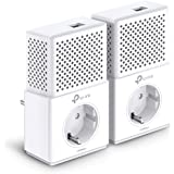 TP-Link TL-PA7010P KIT AV1000 Gigabit - 2 Adaptadores de comunicación por línea eléctrica PLC/Extensor/Repetidores de red, Amplificador cobertura internet(1 Puerto/Enchufe/Smart TV)